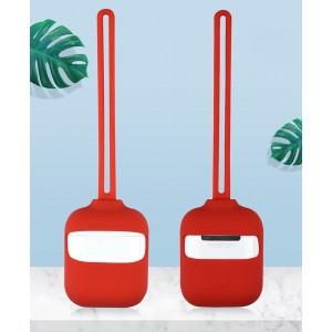 Силиконовый матовый чехол с нашейным силиконовым шнурком для Apple AirPods Красный