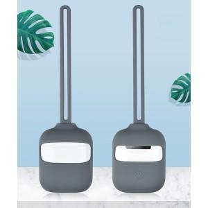Силиконовый матовый чехол с нашейным силиконовым шнурком для Apple AirPods Серый