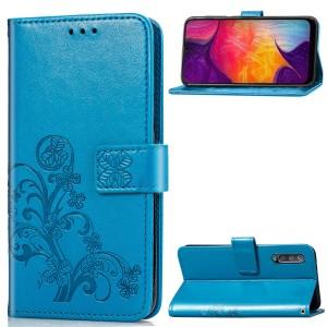 Чехол портмоне подставка текстура Узоры на силиконовой основе с отсеком для карт на дизайнерской магнитной защелке для Samsung Galaxy A50 Синий