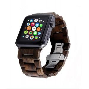 Деревянный сегментарный ремешок на пряжке для Apple Watch Series 4 44мм/Series 1/2/3 42мм Коричневый