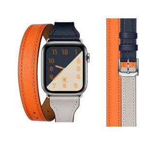 Кожаный трехцветный ремешок-браслет с двойным обхватом кисти и магнитным коннектором для Apple Watch Series 4 44мм/Series 1/2/3 42мм