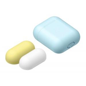 Силиконовый матовый чехол с комплектом разноцветных крышек для Apple AirPods Голубой