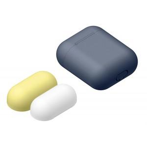Силиконовый матовый чехол с комплектом разноцветных крышек для Apple AirPods Синий
