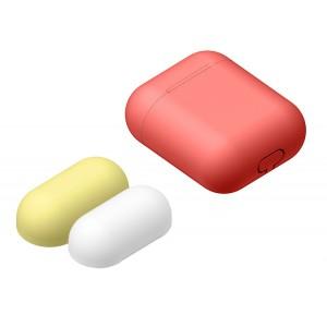 Силиконовый матовый чехол с комплектом разноцветных крышек для Apple AirPods Красный