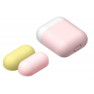 Силиконовый матовый чехол с комплектом разноцветных крышек для Apple AirPods Розовый