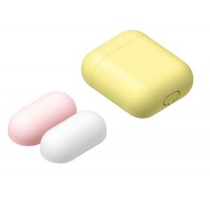 Силиконовый матовый чехол с комплектом разноцветных крышек для Apple AirPods Желтый