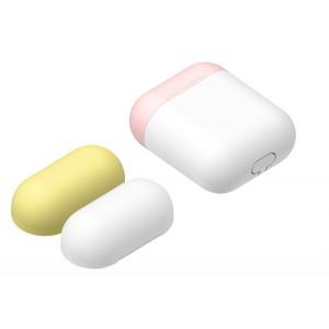 Силиконовый матовый чехол с комплектом разноцветных крышек для Apple AirPods Белый