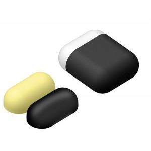 Силиконовый матовый чехол с комплектом разноцветных крышек для Apple AirPods Черный