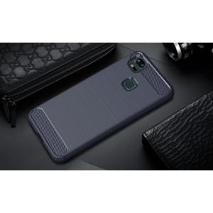 Силиконовый матовый непрозрачный чехол с текстурным покрытием Металлик для Asus ZenFone 3 Zoom Синий