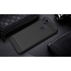 Силиконовый матовый непрозрачный чехол с текстурным покрытием Металлик для Asus ZenFone 3 Zoom Черный