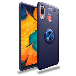 Силиконовый матовый непрозрачный чехол с встроенным кольцом-подставкой для Samsung Galaxy A20/A30 Синий