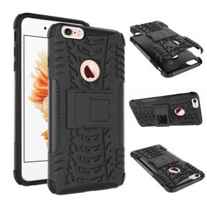 Противоударный двухкомпонентный силиконовый матовый непрозрачный чехол с нескользящими гранями и поликарбонатными вставками экстрим защиты с встроенной ножкой-подставкой для Iphone 6 Plus/6s Plus Черный