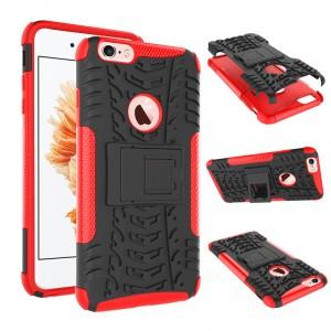 Противоударный двухкомпонентный силиконовый матовый непрозрачный чехол с нескользящими гранями и поликарбонатными вставками экстрим защиты с встроенной ножкой-подставкой для Iphone 6 Plus/6s Plus Красный