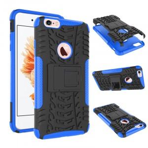 Противоударный двухкомпонентный силиконовый матовый непрозрачный чехол с нескользящими гранями и поликарбонатными вставками экстрим защиты с встроенной ножкой-подставкой для Iphone 6 Plus/6s Plus Синий