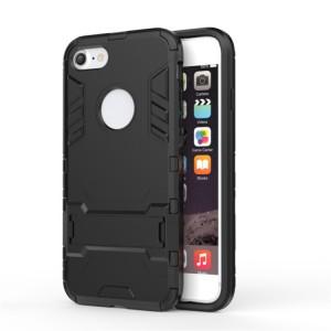 Противоударный двухкомпонентный силиконовый матовый непрозрачный чехол с поликарбонатными вставками экстрим защиты с встроенной ножкой-подставкой для Iphone 6 Plus/6s Plus Черный