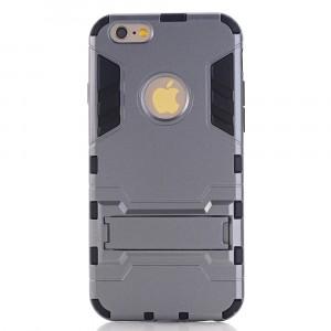 Противоударный двухкомпонентный силиконовый матовый непрозрачный чехол с поликарбонатными вставками экстрим защиты с встроенной ножкой-подставкой для Iphone 6 Plus/6s Plus Серый