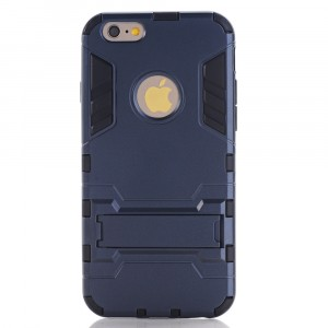 Противоударный двухкомпонентный силиконовый матовый непрозрачный чехол с поликарбонатными вставками экстрим защиты с встроенной ножкой-подставкой для Iphone 6 Plus/6s Plus Синий