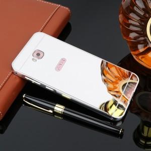 Двухкомпонентный чехол c металлическим бампером с поликарбонатной накладкой и зеркальным покрытием для ASUS ZenFone 4 Selfie Белый