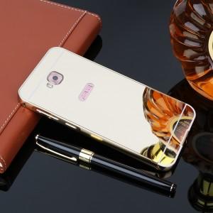 Двухкомпонентный чехол c металлическим бампером с поликарбонатной накладкой и зеркальным покрытием для ASUS ZenFone 4 Selfie Бежевый