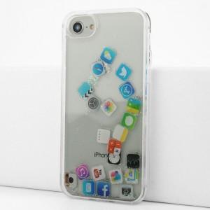 Силиконовый глянцевый транспарентный чехол c внутренней аква-аппликацией для Iphone 7/8 Белый