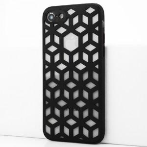 Силиконовый матовый полупрозрачный чехол с co стеклянной накладкой и текстурным покрытием Линии для Iphone 7/8 Черный