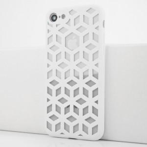 Силиконовый матовый полупрозрачный чехол с co стеклянной накладкой и текстурным покрытием Линии для Iphone 7/8 Белый