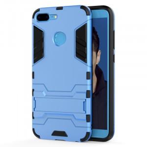 Противоударный двухкомпонентный силиконовый матовый непрозрачный чехол с поликарбонатными вставками экстрим защиты с встроенной ножкой-подставкой для Huawei Honor 9 Lite Голубой