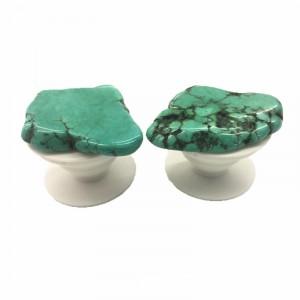 Телескопический держатель/подставка/попсокет с полированным камнем Зеленый