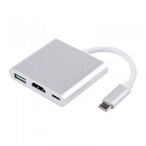 Хаб-переходник USB Type-C - USB 3.0/HDMI/USB Type-C в матовом металлическом корпусе Белый