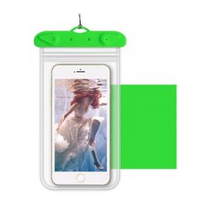 Универсальный транспарентный водонепроницаемый смарт чехол-мешок для гаджетов до 6 дюймов Зеленый