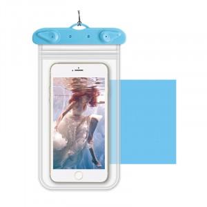 Универсальный транспарентный водонепроницаемый смарт чехол-мешок для гаджетов до 6 дюймов Голубой