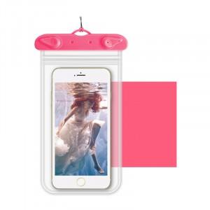 Универсальный транспарентный водонепроницаемый смарт чехол-мешок для гаджетов до 6 дюймов Розовый