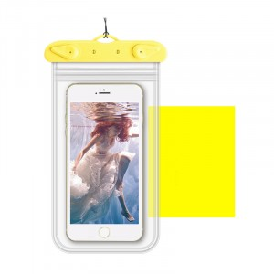 Универсальный транспарентный водонепроницаемый смарт чехол-мешок для гаджетов до 6 дюймов Желтый