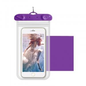 Универсальный транспарентный водонепроницаемый смарт чехол-мешок для гаджетов до 6 дюймов Фиолетовый