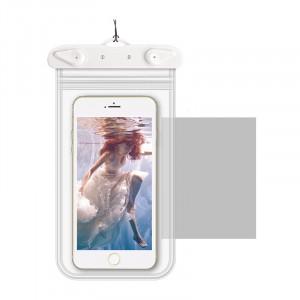 Универсальный транспарентный водонепроницаемый смарт чехол-мешок для гаджетов до 6 дюймов Белый