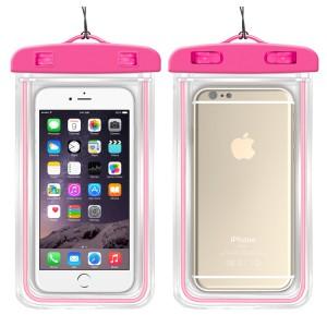 Универсальный флуоресцентный транспарентный водонепроницаемый смарт чехол-мешок для гаджетов до 6 дюймов Розовый