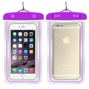 Универсальный флуоресцентный транспарентный водонепроницаемый смарт чехол-мешок для гаджетов до 6 дюймов Фиолетовый