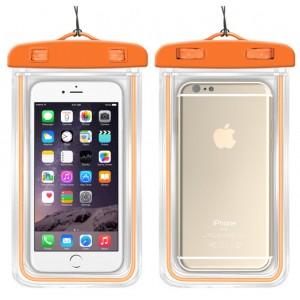 Универсальный флуоресцентный транспарентный водонепроницаемый смарт чехол-мешок для гаджетов до 6 дюймов Оранжевый