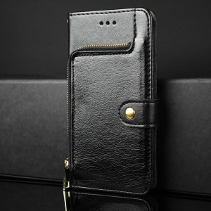 Глянцевый водоотталкивающий чехол портмоне подставка на силиконовой основе с внутренними отсеками для карт и внешним карманом на молнии на крепежной застежке для ASUS ZenFone Max Черный