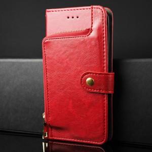 Глянцевый водоотталкивающий чехол портмоне подставка на силиконовой основе с внутренними отсеками для карт и внешним карманом на молнии на крепежной застежке для ASUS ZenFone Max Красный