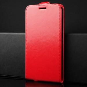Чехол вертикальная книжка на силиконовой основе с отсеком для карт на магнитной защелке для Alcatel A7 Красный