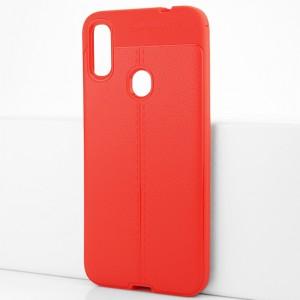 Силиконовый матовый непрозрачный чехол с текстурным покрытием Кожа для Xiaomi RedMi Note 7 Красный
