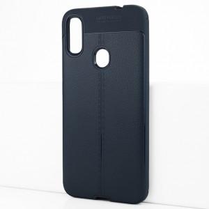 Силиконовый матовый непрозрачный чехол с текстурным покрытием Кожа для Xiaomi RedMi Note 7 Синий