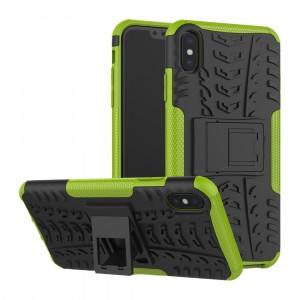 Противоударный двухкомпонентный силиконовый матовый непрозрачный чехол с поликарбонатными вставками экстрим защиты с встроенной ножкой-подставкой и текстурным покрытием Шина для Iphone Xs Max Зеленый