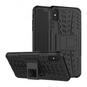 Противоударный двухкомпонентный силиконовый матовый непрозрачный чехол с поликарбонатными вставками экстрим защиты с встроенной ножкой-подставкой и текстурным покрытием Шина для Iphone Xs Max Черный