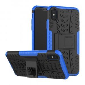 Противоударный двухкомпонентный силиконовый матовый непрозрачный чехол с поликарбонатными вставками экстрим защиты с встроенной ножкой-подставкой и текстурным покрытием Шина для Iphone Xs Max Синий