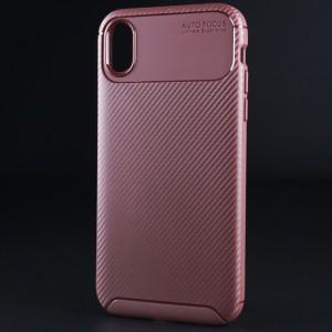 Силиконовый матовый непрозрачный чехол с текстурным покрытием Карбон для Iphone Xr Коричневый