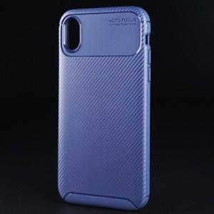 Силиконовый матовый непрозрачный чехол с текстурным покрытием Карбон для Iphone Xr Синий