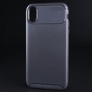 Силиконовый матовый непрозрачный чехол с текстурным покрытием Карбон для Iphone Xr Черный