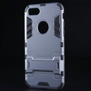 Двухкомпонентный силиконовый матовый непрозрачный чехол с поликарбонатными бампером и крышкой и встроенной ножкой-подставкой для Iphone 7 Серый